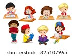 children reading and writing... | Shutterstock .eps vector #325107965