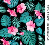 tropical flowers and jungle... | Shutterstock .eps vector #325117181