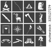 set if monochrome camping icons.... | Shutterstock .eps vector #325127279