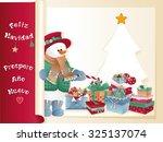 christmas background. happy... | Shutterstock .eps vector #325137074