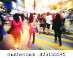 people in hong kong cross... | Shutterstock . vector #325155545