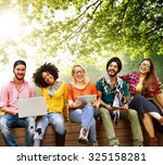 teenagers young team together... | Shutterstock . vector #325158281