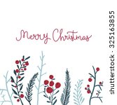 Merry Christmas Card With Red...