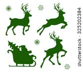 set of silhouettes of christmas ... | Shutterstock .eps vector #325202384