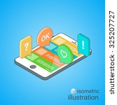 3d smartphone with colorful... | Shutterstock .eps vector #325207727
