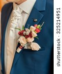 wedding boutonniere on suit of... | Shutterstock . vector #325214951