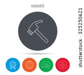 hammer icon. repair or fix tool
