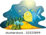 a  lone anglerfish amongst... | Shutterstock .eps vector #32525899