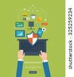set of flat design illustration ... | Shutterstock . vector #325259234