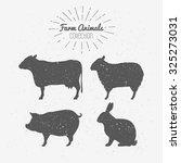 Set Of Farm Animals Silhouettes....