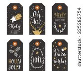 vintage christmas gift tags | Shutterstock .eps vector #325282754
