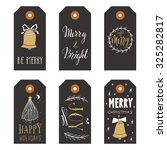 vintage christmas gift tags | Shutterstock .eps vector #325282817