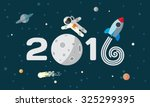 happy new year. flat space... | Shutterstock .eps vector #325299395