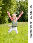 child of 5 years old jumping...   Shutterstock . vector #32532355