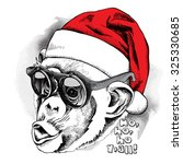 monkey portrait in a red santa... | Shutterstock .eps vector #325330685