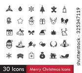 merry christmas icons set... | Shutterstock .eps vector #325347119
