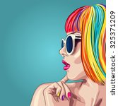 vector beautiful woman wearing colorful wig and white sunglasses. EPS | Shutterstock vector #325371209