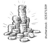 stacks of coins. money. hand... | Shutterstock .eps vector #325371509