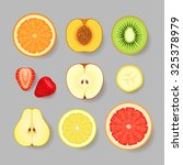 various fruits and berries on... | Shutterstock .eps vector #325378979