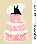 tiered wedding cake with bride ... | Shutterstock .eps vector #325381445