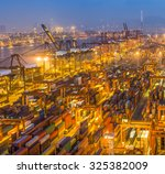 industrial port with containers | Shutterstock . vector #325382009