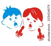 boy and girl  colored... | Shutterstock .eps vector #325424075