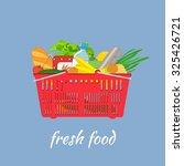 supermarket basket with food.... | Shutterstock . vector #325426721