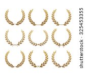 set from gold laurel wreath | Shutterstock .eps vector #325453355