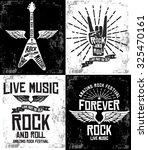 hand drawn rock festival poster.... | Shutterstock .eps vector #325470161