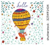 cute hello card with hot air... | Shutterstock .eps vector #325491434