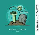 zombie hand in cemetery  flat... | Shutterstock .eps vector #325491761