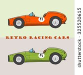 vintage cartoon racing car.... | Shutterstock .eps vector #325520615