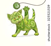 kitten with abstract ornament... | Shutterstock . vector #325521539