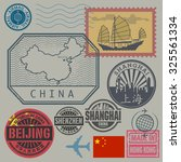 travel stamps set with the text ... | Shutterstock .eps vector #325561334