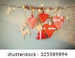 Christmas Image Of Fabric Red...
