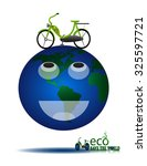 the bike will reduce global... | Shutterstock .eps vector #325597721