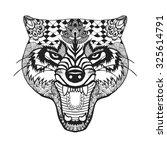 zentangle stylized roaring wolf.... | Shutterstock . vector #325614791