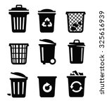 vector black trash can icon on... | Shutterstock .eps vector #325616939