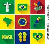 brazil flat icon set. vector... | Shutterstock .eps vector #325623551