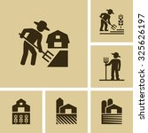 farmer working in field vector... | Shutterstock .eps vector #325626197