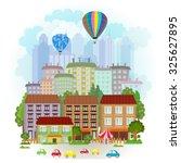 summer cityscape  | Shutterstock .eps vector #325627895