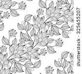 seamless monochrome floral... | Shutterstock . vector #325655207