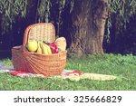 picnic basket and blanket on... | Shutterstock . vector #325666829