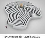 Stock photo head maze with man and light bulb as a goal 325680137