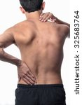 scoliosis  thin man on his back ... | Shutterstock . vector #325683764