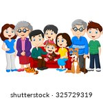 big family with grandparents... | Shutterstock . vector #325729319