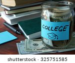 Jar With Label College And...