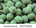 Small photo of Unripe green peaches prematurely collected.