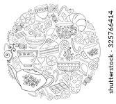 coffee and tea doodle... | Shutterstock .eps vector #325766414