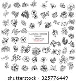 monochrome vector floral set of ... | Shutterstock .eps vector #325776449